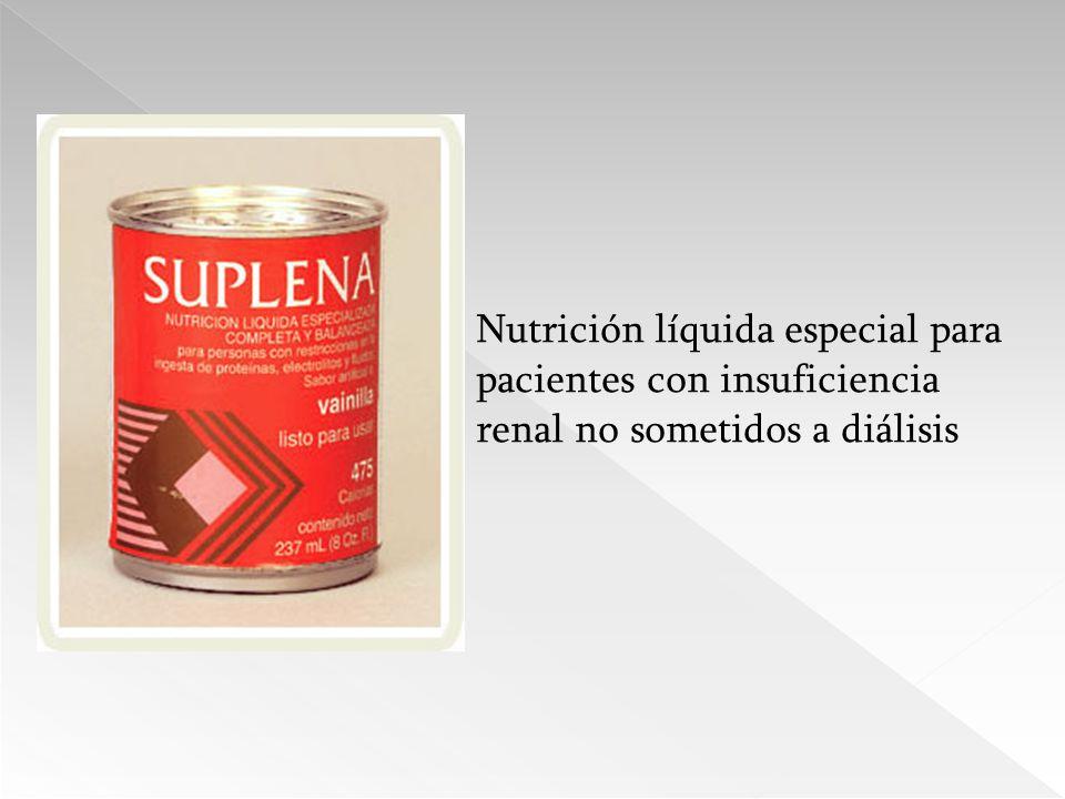 Nutrición líquida especial para pacientes con insuficiencia renal no sometidos a diálisis
