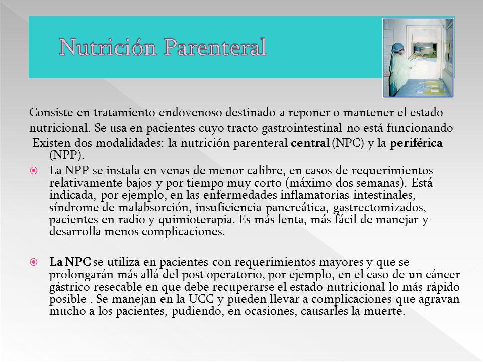 Nutrición Parenteral Consiste en tratamiento endovenoso destinado a reponer o mantener el estado.