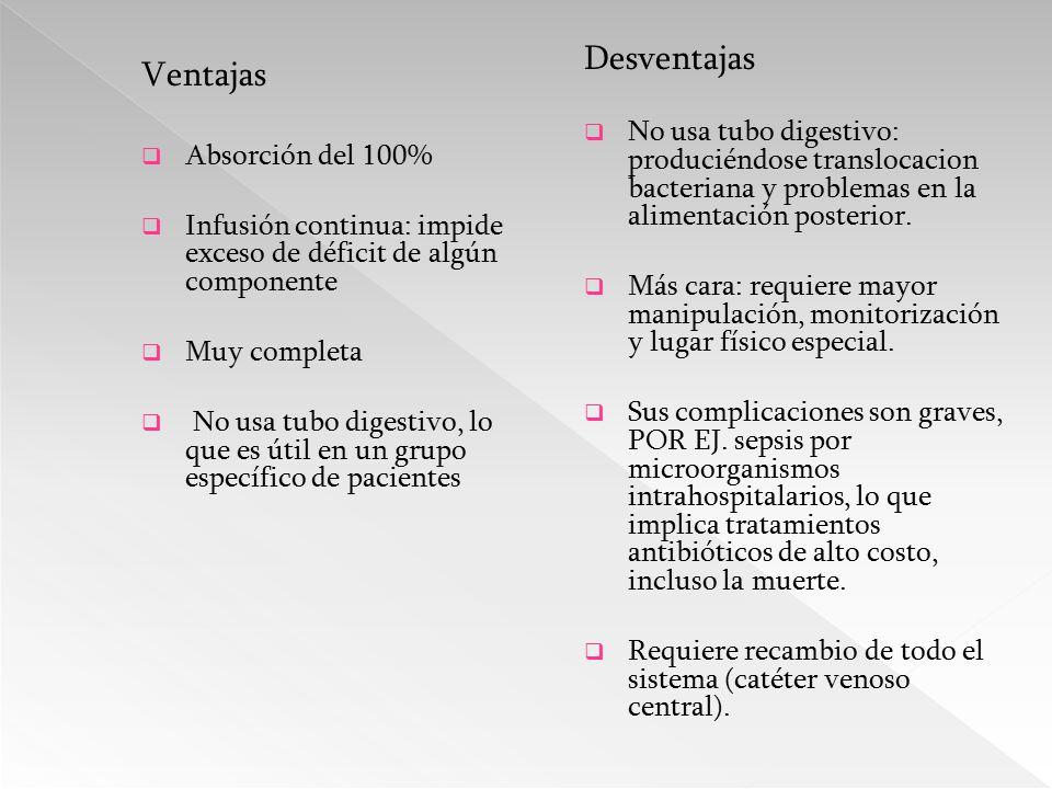 Desventajas No usa tubo digestivo: produciéndose translocacion bacteriana y problemas en la alimentación posterior.