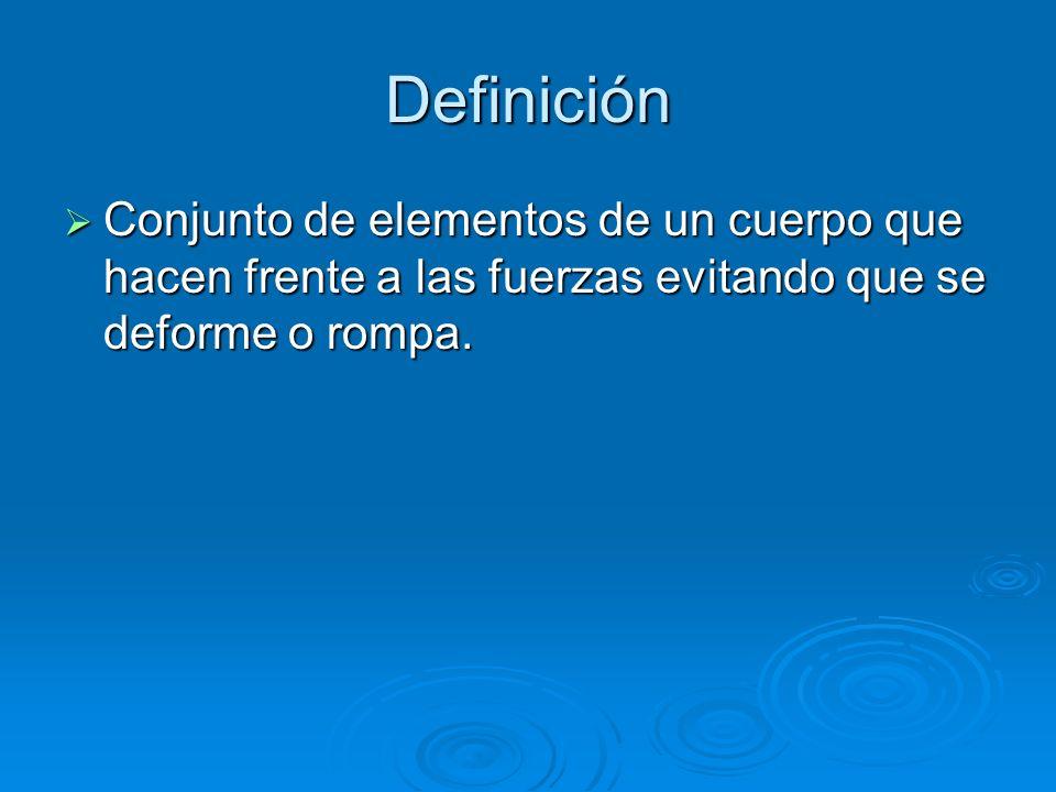 Definición Conjunto de elementos de un cuerpo que hacen frente a las fuerzas evitando que se deforme o rompa.