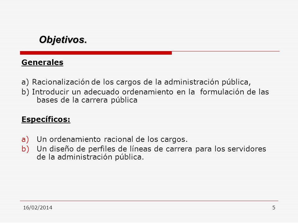 Objetivos. Generales. a) Racionalización de los cargos de la administración pública,