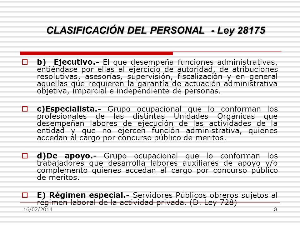 CLASIFICACIÓN DEL PERSONAL - Ley 28175