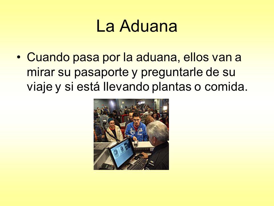 La Aduana Cuando pasa por la aduana, ellos van a mirar su pasaporte y preguntarle de su viaje y si está llevando plantas o comida.