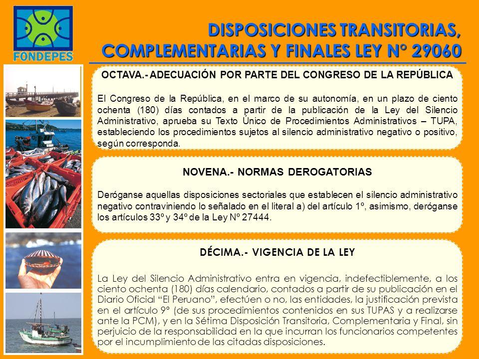 DISPOSICIONES TRANSITORIAS, COMPLEMENTARIAS Y FINALES LEY N° 29060