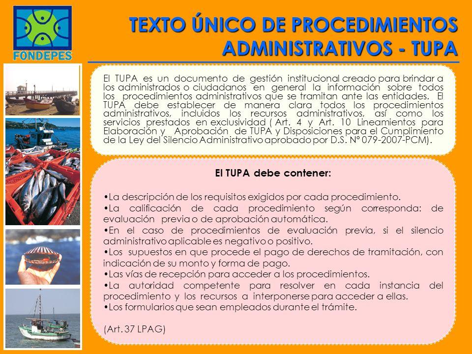 TEXTO ÚNICO DE PROCEDIMIENTOS ADMINISTRATIVOS - TUPA