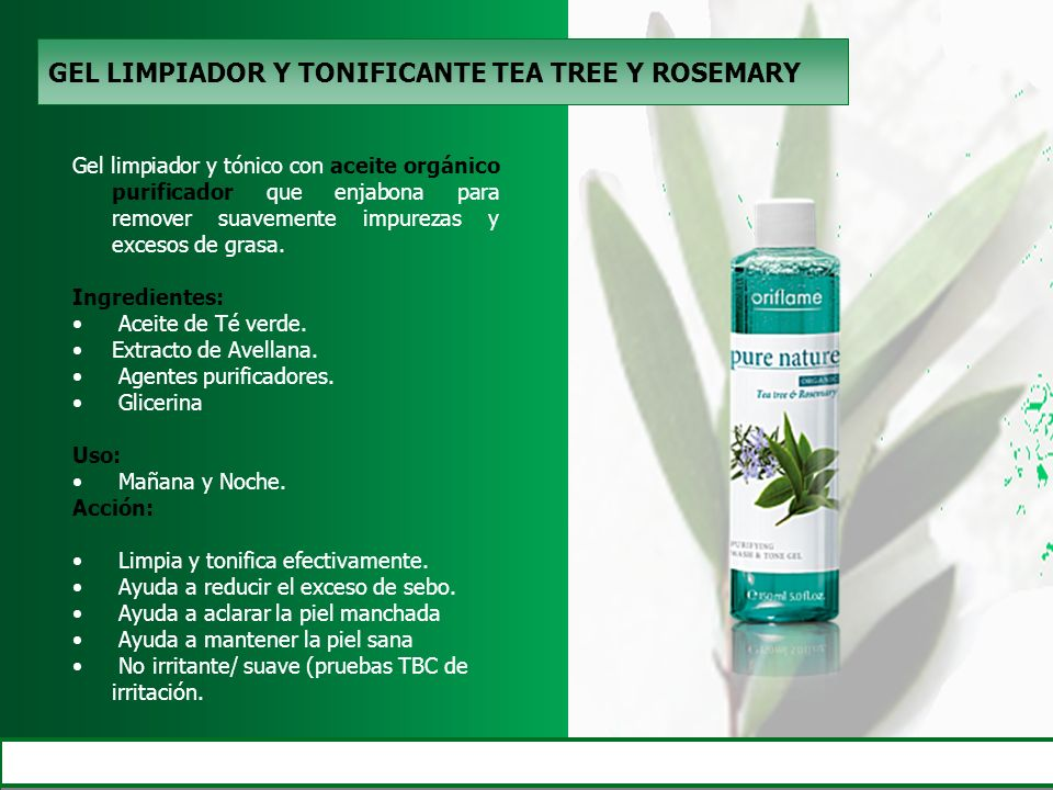 GEL LIMPIADOR Y TONIFICANTE TEA TREE Y ROSEMARY