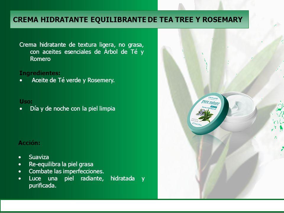 CREMA HIDRATANTE EQUILIBRANTE DE TEA TREE Y ROSEMARY