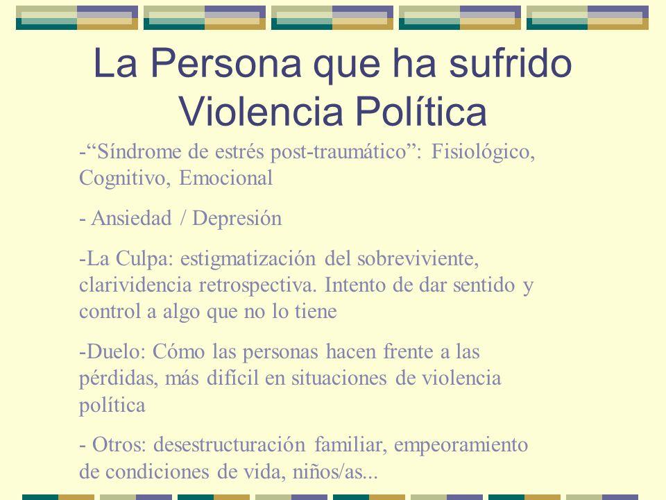 La Persona que ha sufrido Violencia Política