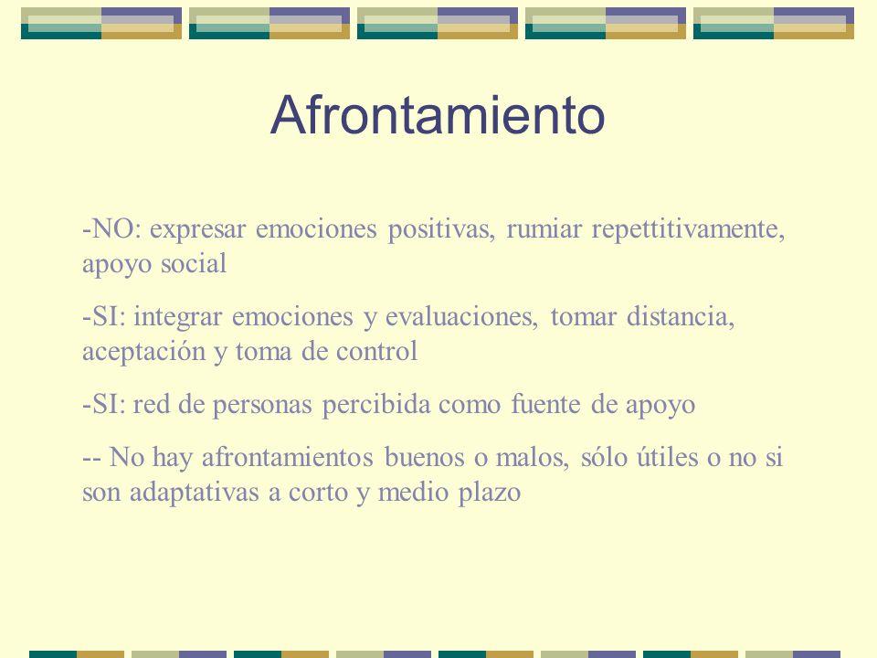 Afrontamiento NO: expresar emociones positivas, rumiar repettitivamente, apoyo social.