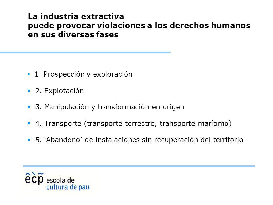 La industria extractiva puede provocar violaciones a los derechos humanos en sus diversas fases
