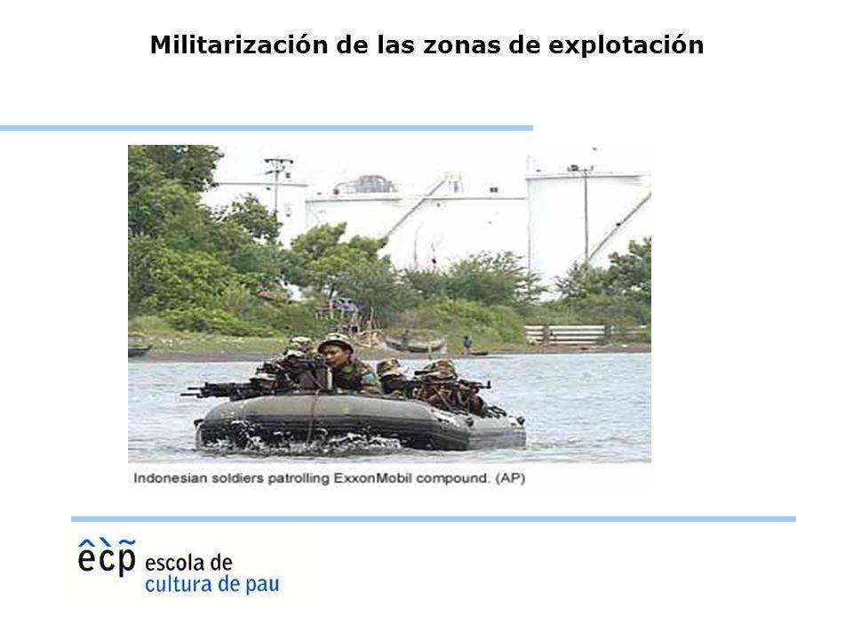 Militarización de las zonas de explotación