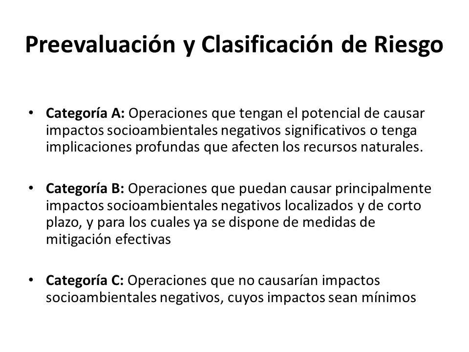 Preevaluación y Clasificación de Riesgo