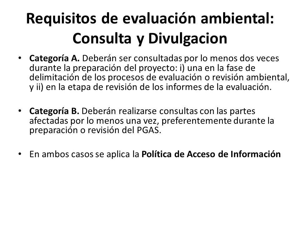 Requisitos de evaluación ambiental: Consulta y Divulgacion