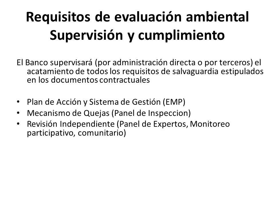 Requisitos de evaluación ambiental Supervisión y cumplimiento