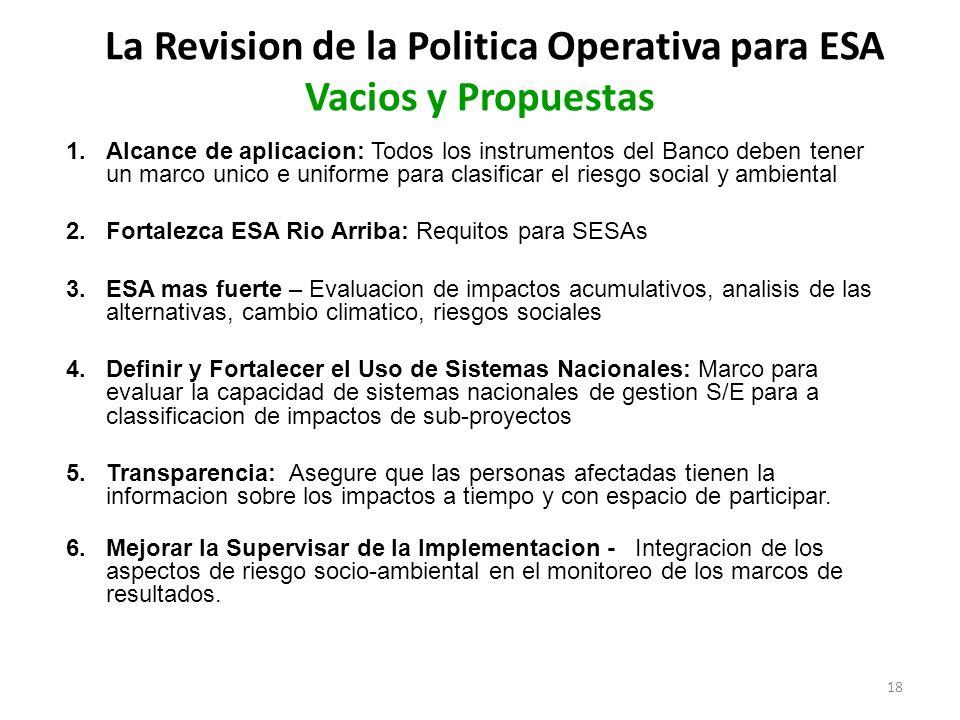 La Revision de la Politica Operativa para ESA Vacios y Propuestas