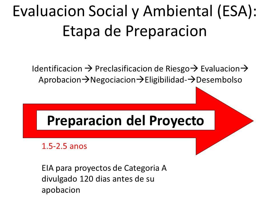 Evaluacion Social y Ambiental (ESA): Etapa de Preparacion