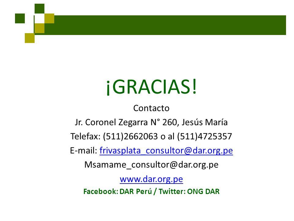 Facebook: DAR Perú / Twitter: ONG DAR