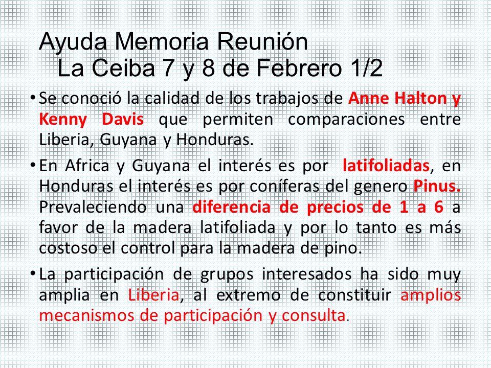 Ayuda Memoria Reunión La Ceiba 7 y 8 de Febrero 1/2