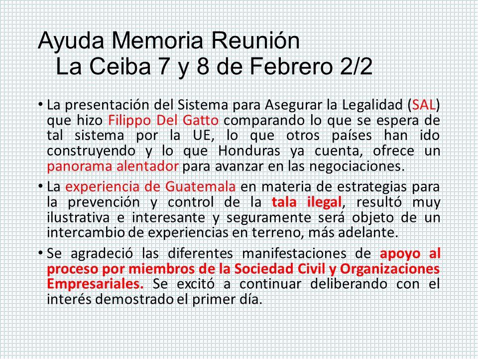 Ayuda Memoria Reunión La Ceiba 7 y 8 de Febrero 2/2
