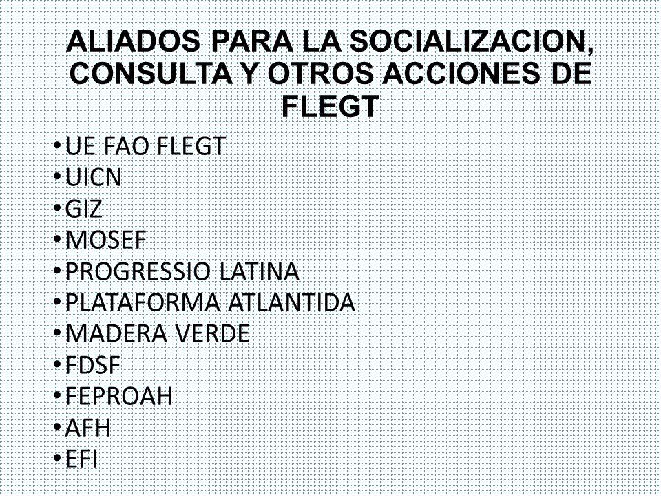 ALIADOS PARA LA SOCIALIZACION, CONSULTA Y OTROS ACCIONES DE FLEGT
