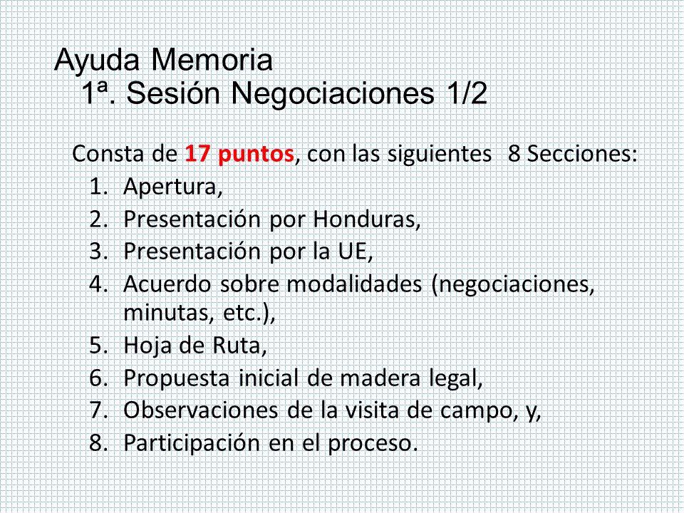 Ayuda Memoria 1ª. Sesión Negociaciones 1/2