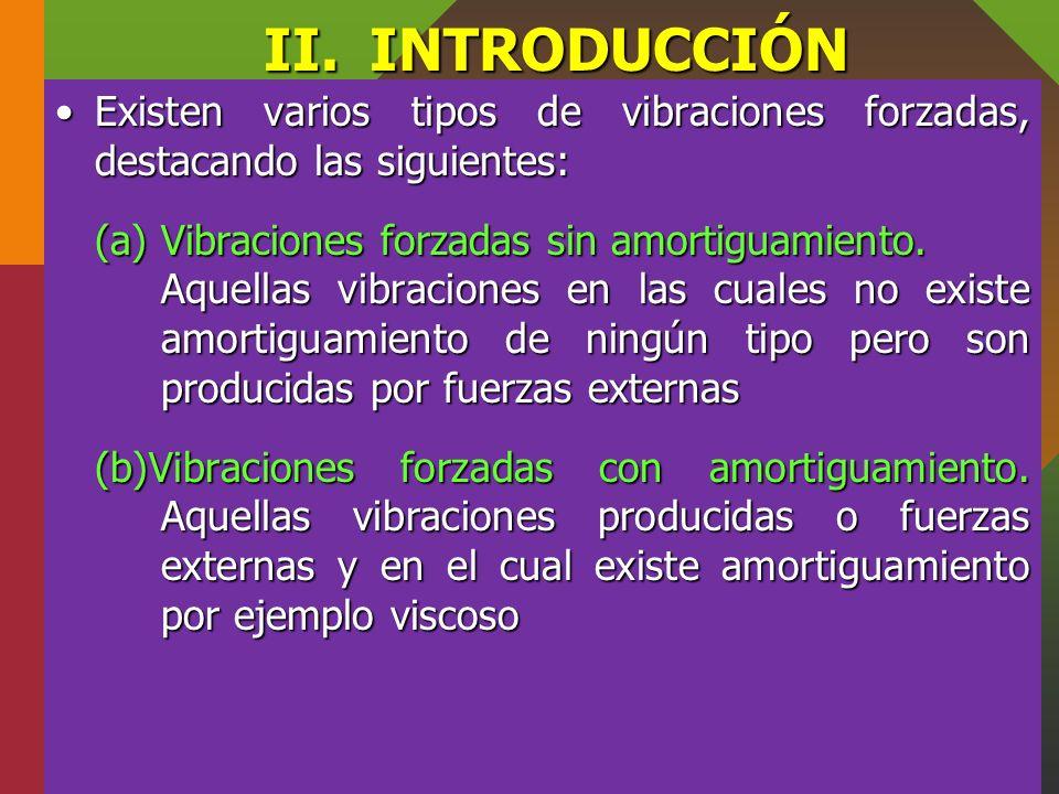 II. INTRODUCCIÓN Existen varios tipos de vibraciones forzadas, destacando las siguientes: