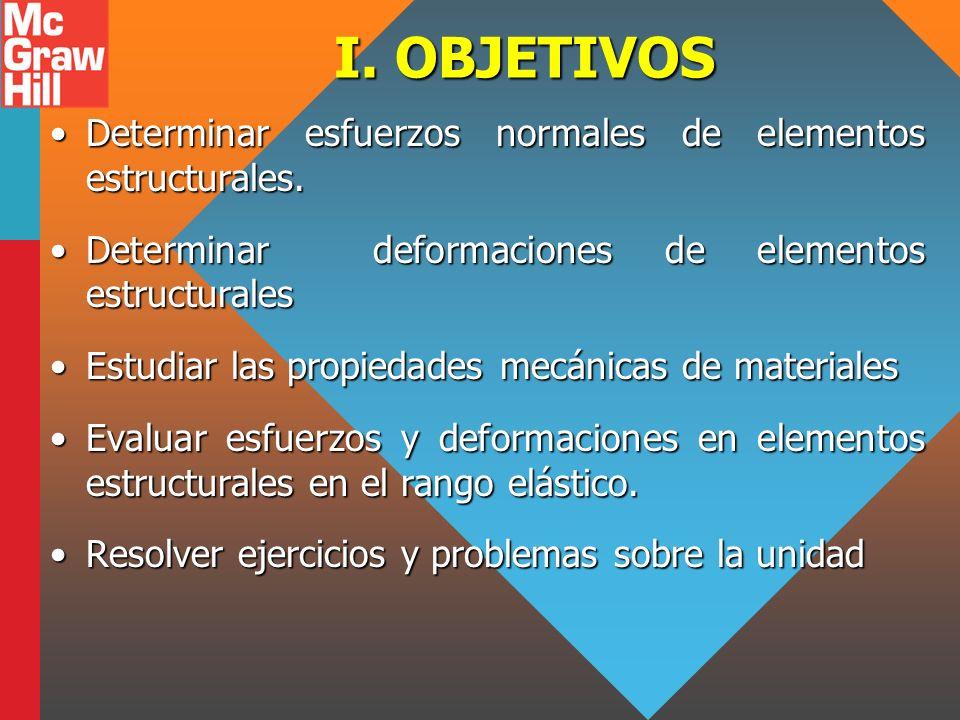 I. OBJETIVOS Determinar esfuerzos normales de elementos estructurales.