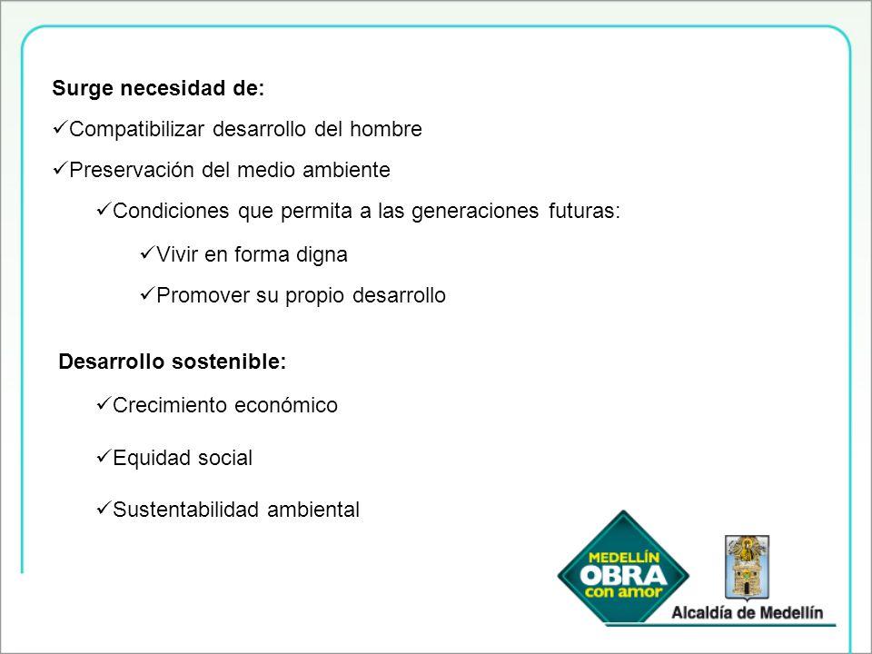 Surge necesidad de: Compatibilizar desarrollo del hombre. Preservación del medio ambiente. Condiciones que permita a las generaciones futuras: