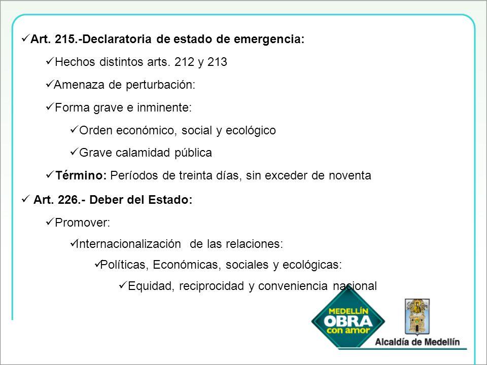 Art. 215.-Declaratoria de estado de emergencia: