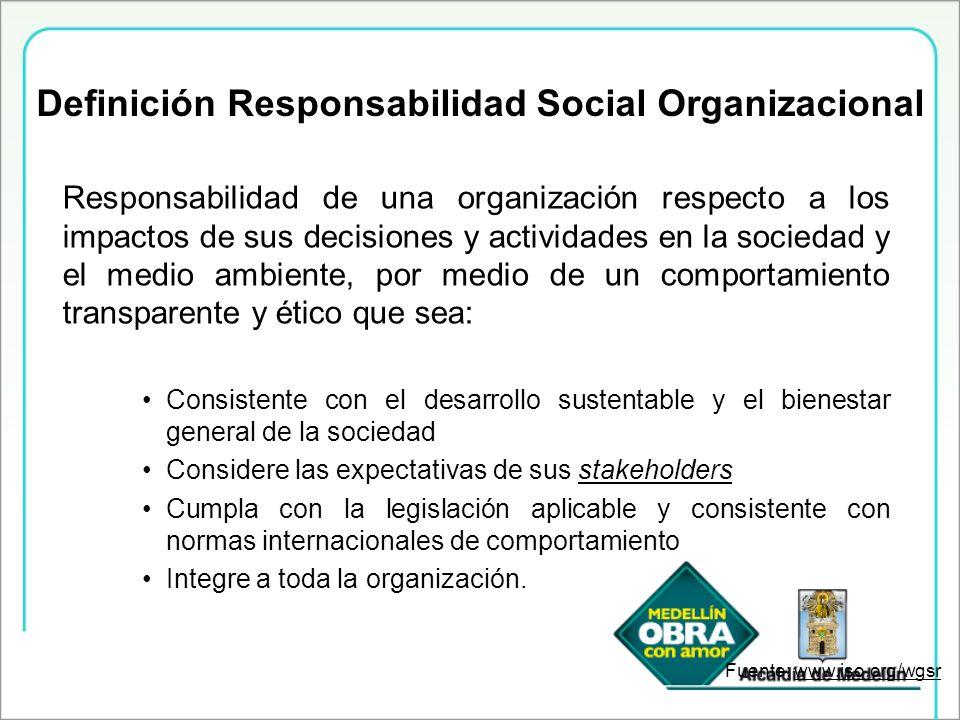 Definición Responsabilidad Social Organizacional