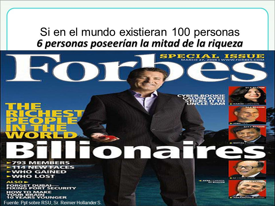6 personas poseerían la mitad de la riqueza