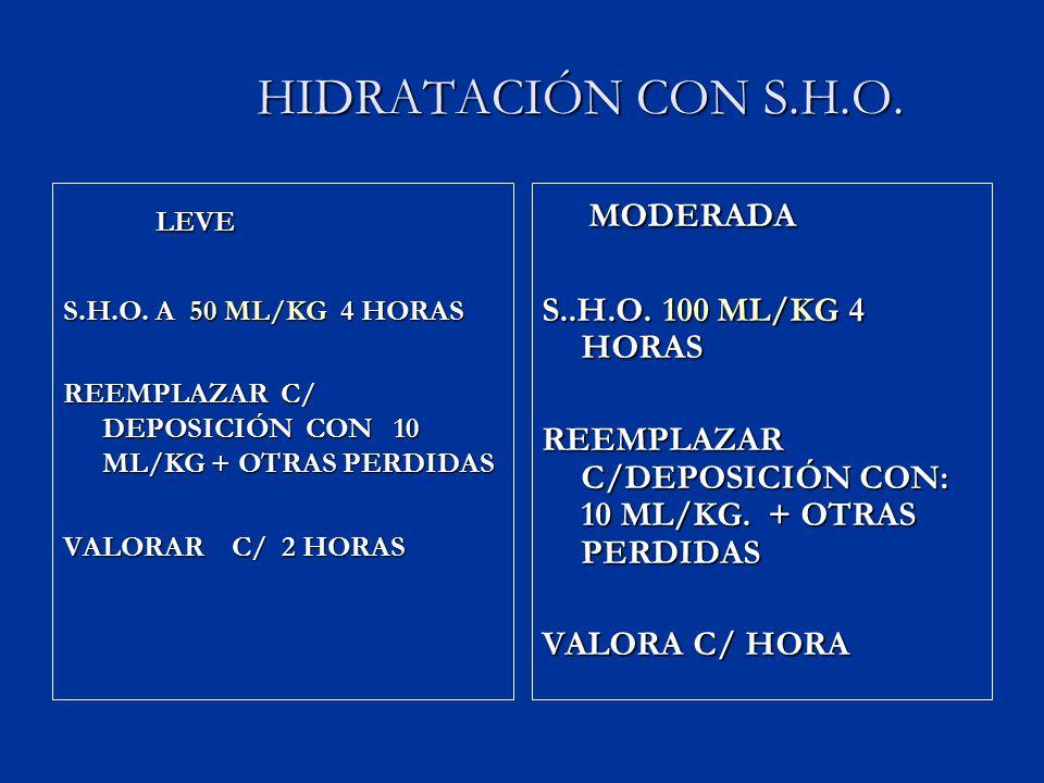 HIDRATACIÓN CON S.H.O. LEVE MODERADA S..H.O. 100 ML/KG 4 HORAS