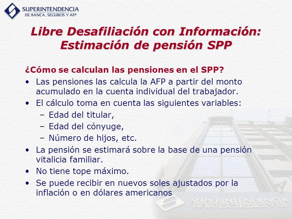 Libre Desafiliación con Información: Estimación de pensión SPP
