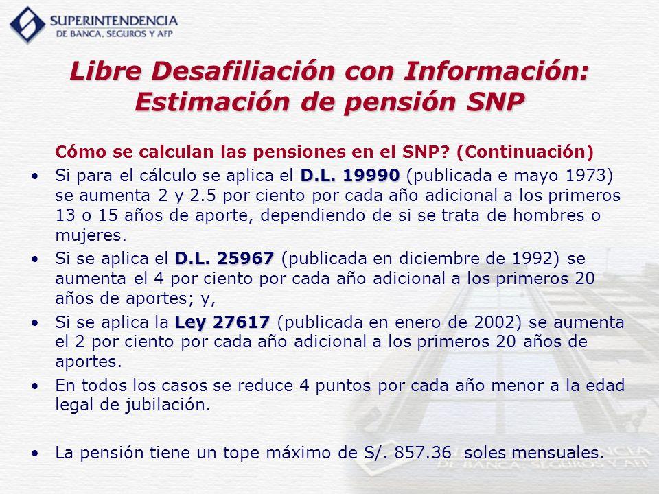 Libre Desafiliación con Información: Estimación de pensión SNP
