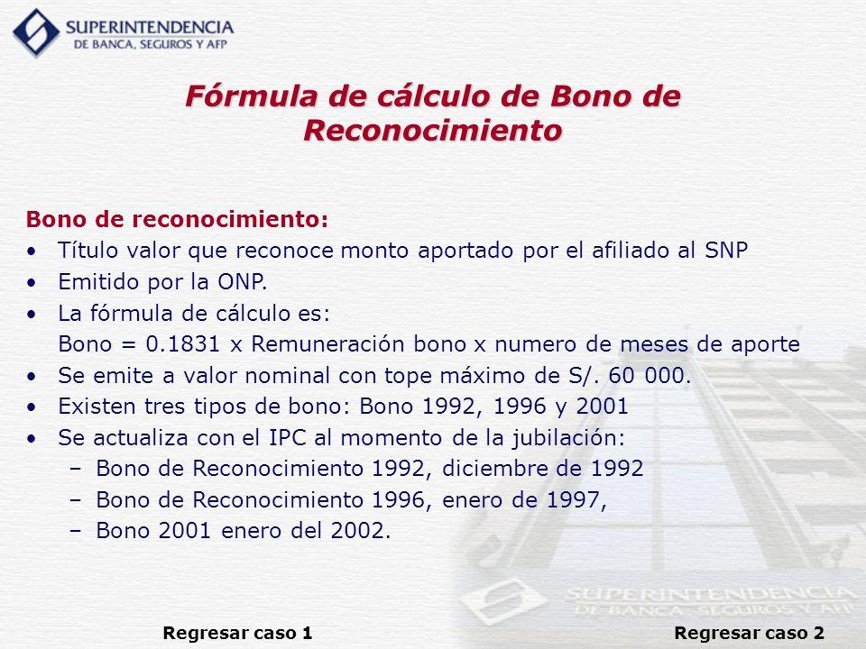 Fórmula de cálculo de Bono de Reconocimiento
