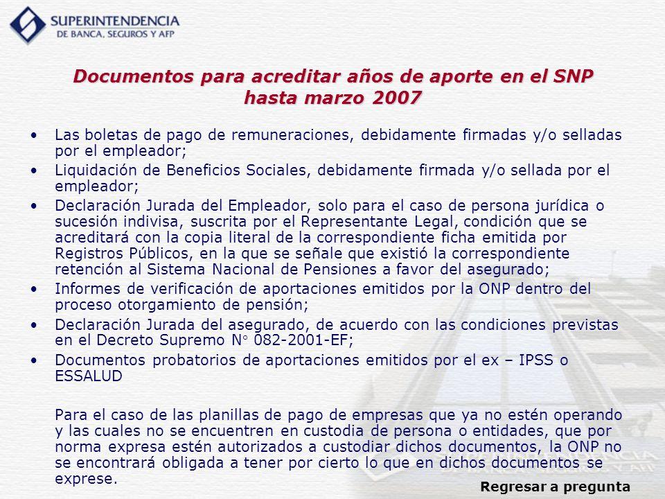 Documentos para acreditar años de aporte en el SNP hasta marzo 2007