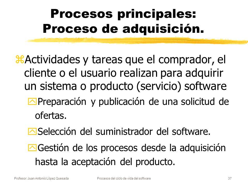 Procesos principales: Proceso de adquisición.