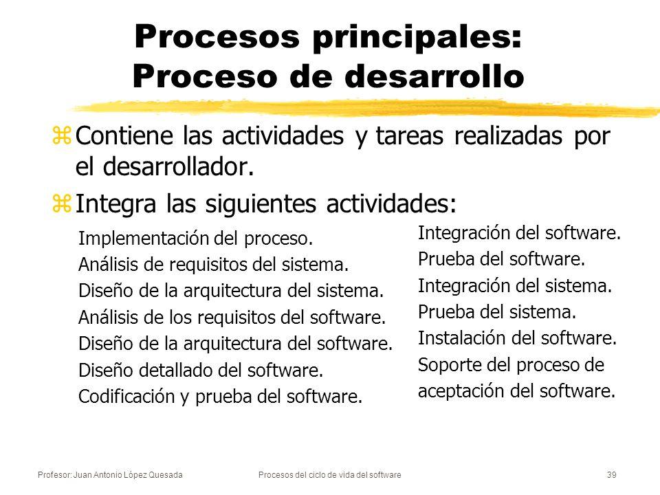 Procesos principales: Proceso de desarrollo