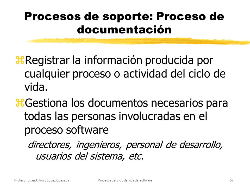 Procesos de soporte: Proceso de documentación