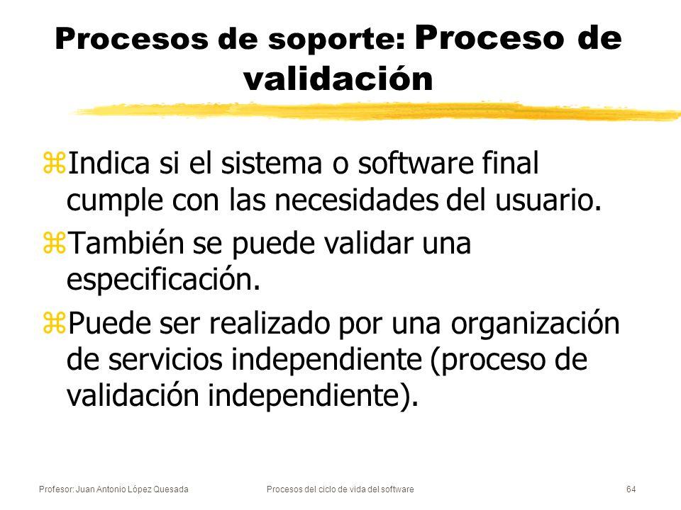 Procesos de soporte: Proceso de validación