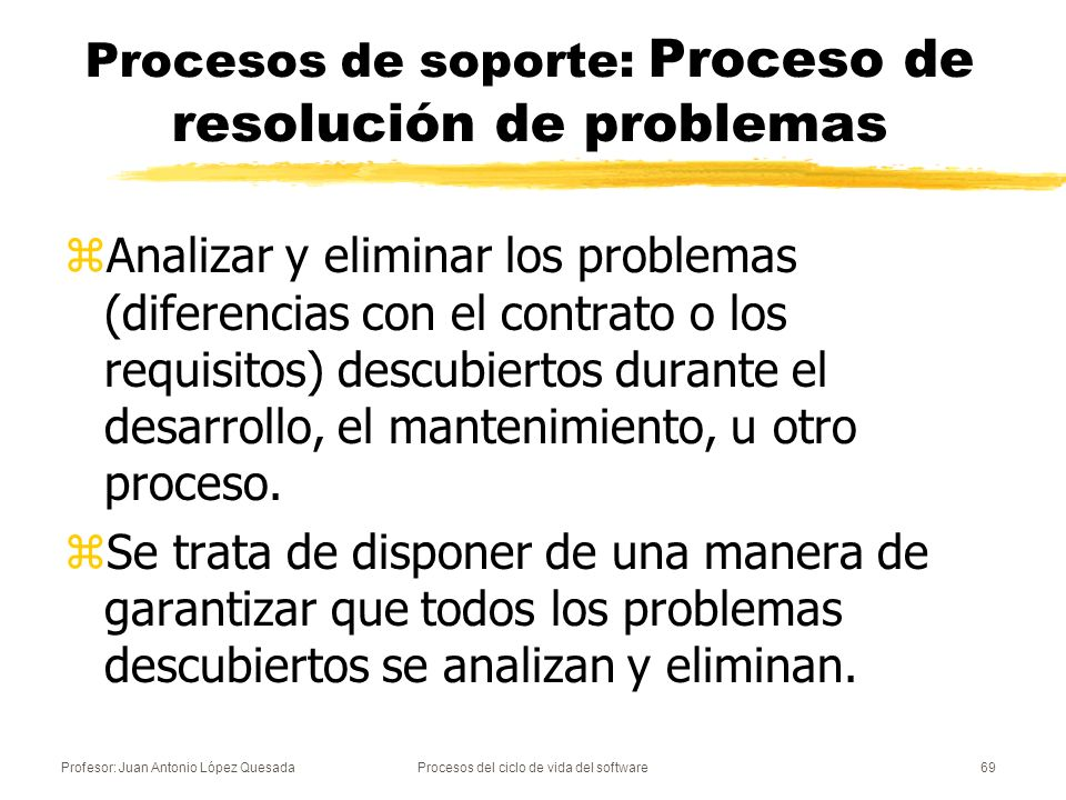 Procesos de soporte: Proceso de resolución de problemas