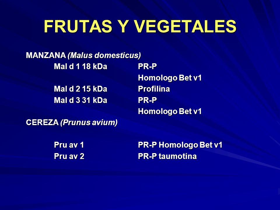 FRUTAS Y VEGETALES MANZANA (Malus domesticus) Mal d 1 18 kDa PR-P
