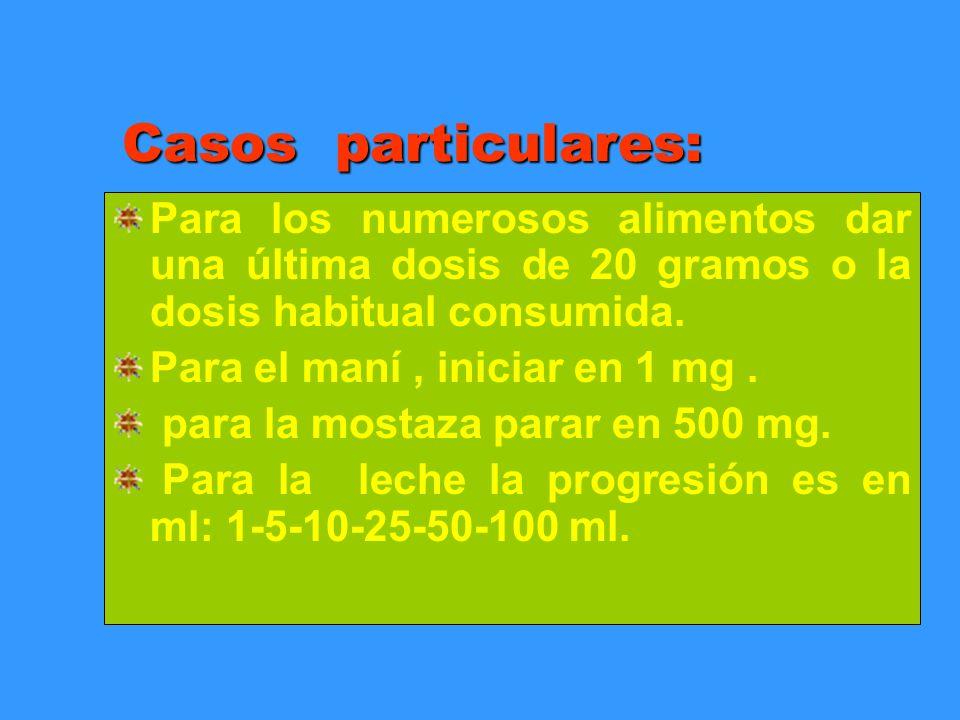Casos particulares: Para los numerosos alimentos dar una última dosis de 20 gramos o la dosis habitual consumida.