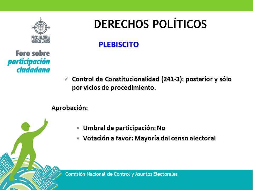 PLEBISCITO Control de Constitucionalidad (241-3): posterior y sólo por vicios de procedimiento. Aprobación: