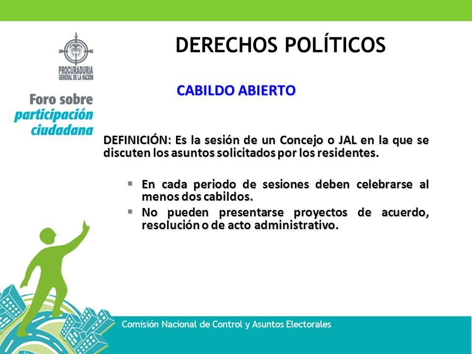 CABILDO ABIERTO DEFINICIÓN: Es la sesión de un Concejo o JAL en la que se discuten los asuntos solicitados por los residentes.