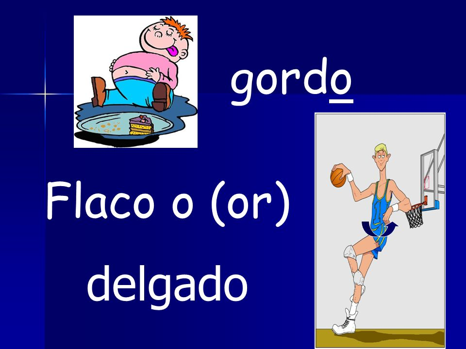 gordo Flaco o (or) delgado