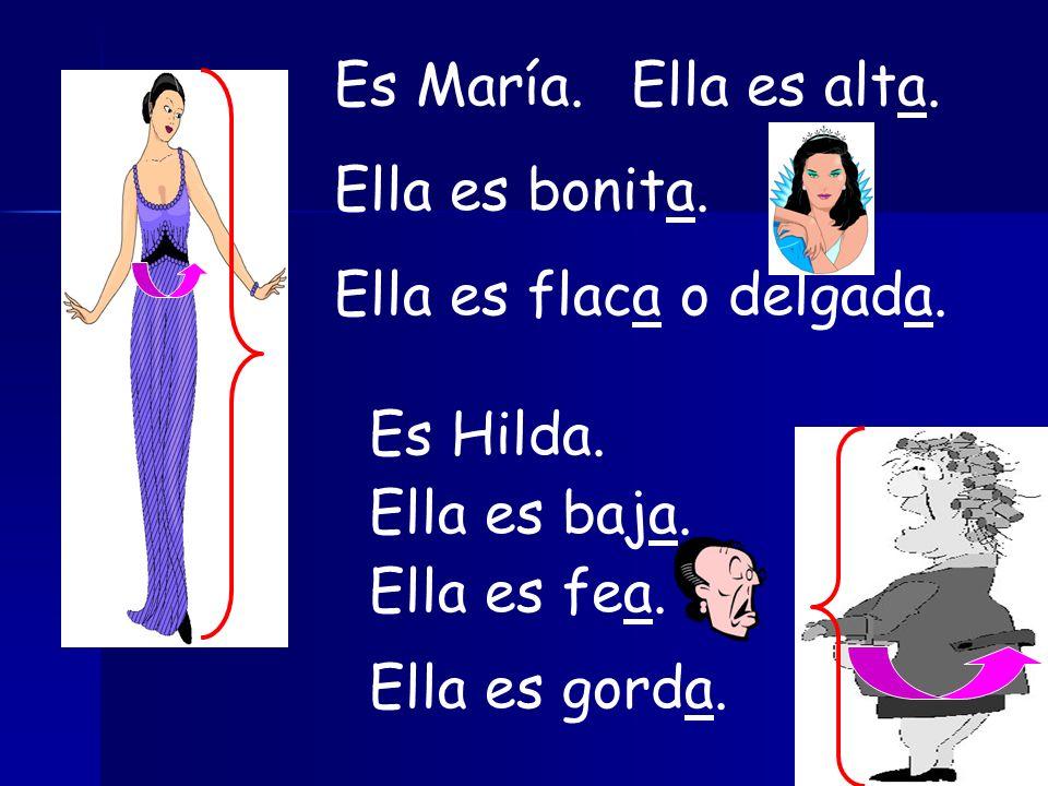 Es María. Ella es alta. Ella es bonita. Ella es flaca o delgada. Es Hilda. Ella es baja. Ella es fea.