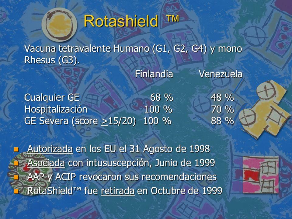 Rotashield ™Vacuna tetravalente Humano (G1, G2, G4) y mono Rhesus (G3).