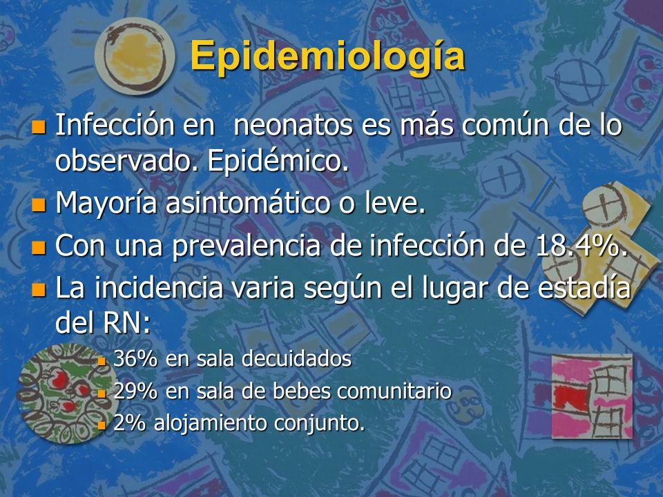 EpidemiologíaInfección en neonatos es más común de lo observado. Epidémico. Mayoría asintomático o leve.