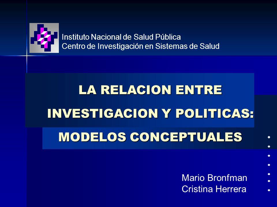 LA RELACION ENTRE INVESTIGACION Y POLITICAS: MODELOS CONCEPTUALES